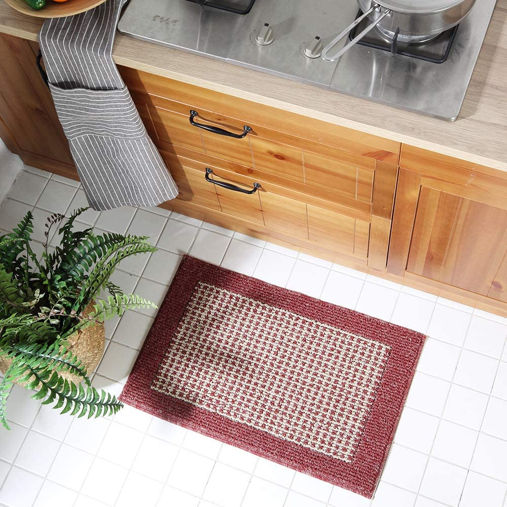 small red kitchen rug
